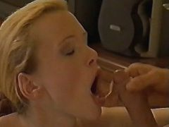 Pregnant blonde gets cum in mouth
