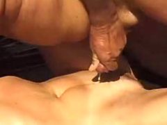 Man jizzing on mature