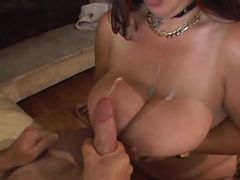 Chubby mature gets cumload on boobs