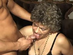 Guy fucks granny and cums in mouth