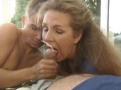 Granny and girl get cum in groupsex