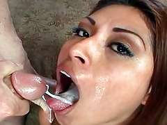 Valuable Looking Latina Gags On Stick & Acquires Her Face Creamed