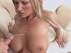 Hot blond milf gets cumshot on tits