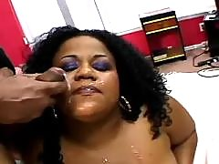 Black milf gets cum