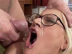 Aged blond mature gets fresh facial
