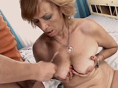 Aged mom gets cum on tits