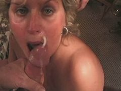 Mature gets facial after gangbang