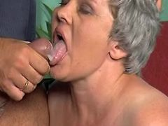 Chubby grandma gets cum in mouth
