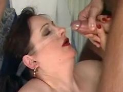 Aged lady gets hot facial in group