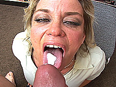 Older slut swallows cum load from this Brandon iron series