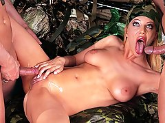 Tough military girl fucked hard in the forest