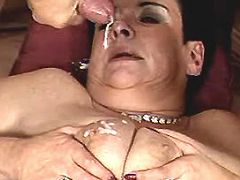 Mature gets cum on tits