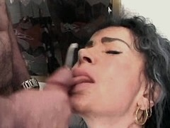 Mom gets facial in orgy