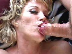 Big breasted milf fucking and getting some cream