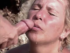 Granny has anal n gets cum outdoor