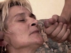 Old mom gets facial after gangbang