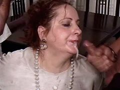 Chubby mature fucks n gets facials