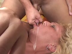 Hot granny gets fuck in ass and cum