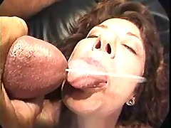 Naughty granny gets cum in group sex