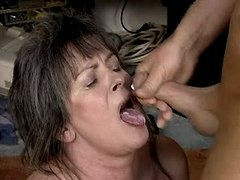 Old mom gets cum in mouth
