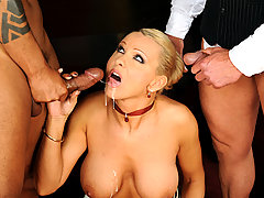 Blonde milf gets black and white dick at work