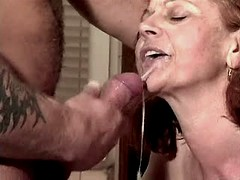 Mom fucks in kitchen n gets facial